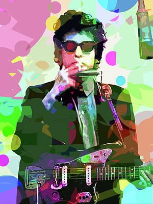 Dylan In Studio Poster by David Lloyd Glover
