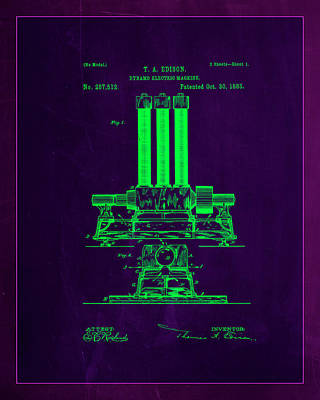 Dynamo Electric Machine Patent Drawing 1b Poster by Brian Reaves