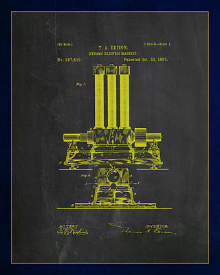 Dynamo Electric Machine Patent Drawing 1c Poster by Brian Reaves