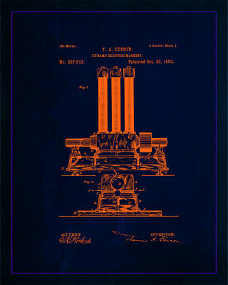 Dynamo Electric Machine Patent Drawing 1e Poster by Brian Reaves