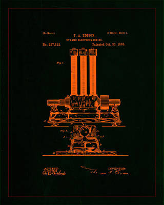 Dynamo Electric Machine Patent Drawing 1f Poster by Brian Reaves