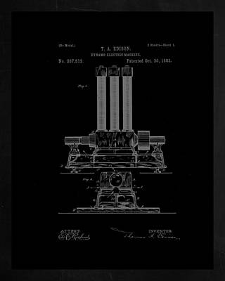 Dynamo Electric Machine Patent Drawing 1h Poster by Brian Reaves