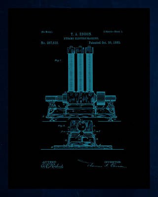 Dynamo Electric Machine Patent Drawing 1j Poster by Brian Reaves