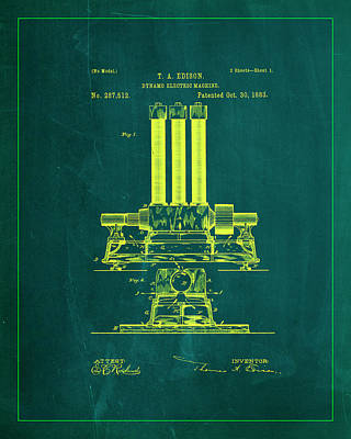 Dynamo Electric Machine Patent Drawing 1k Poster by Brian Reaves