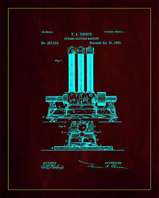 Dynamo Electric Machine Patent Drawing 1l Poster by Brian Reaves