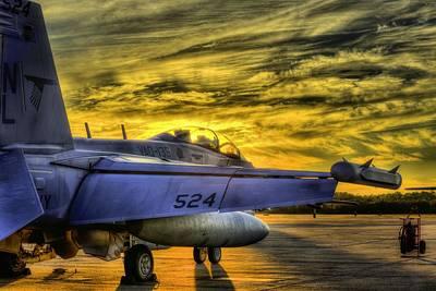 Ea-18g Growler Sunset Poster