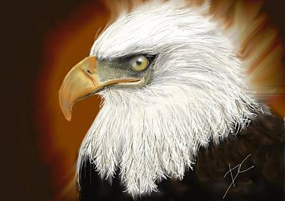Poster featuring the digital art Eagle American by Darren Cannell