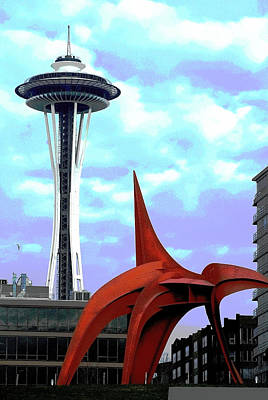 Poster featuring the photograph Eagle And Space Needle Seattle by Yulia Kazansky