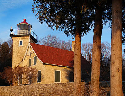 Eagle Bluff Lighthouse At Sunset Poster by David T Wilkinson