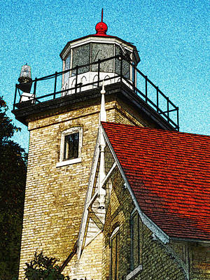 Eagle Bluff Lighthouse Re-imagined Poster by David T Wilkinson