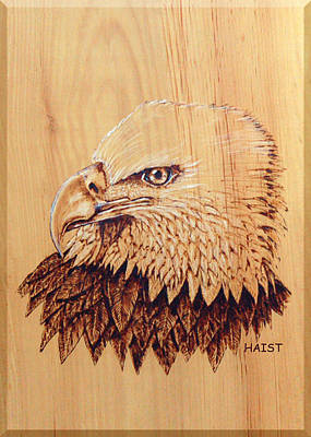 Poster featuring the pyrography Eagle Img 2 by Ron Haist