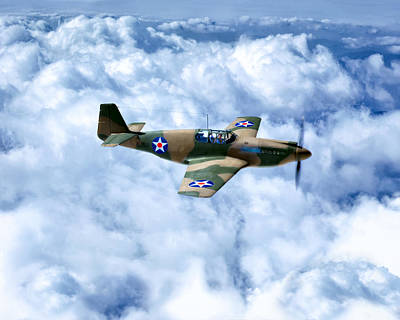 Early Model P-51 Mustang Fighter Plane - World War II Poster