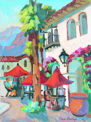 Poster featuring the painting Early Morning Coffee In Old Town La Quinta 2 by Diane McClary
