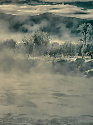 Poster featuring the photograph Early Morning Frost On The River by Don Schwartz
