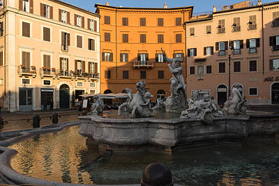 Early Morning Glow - Neptune Fountain On Piazza Navona In Rome Italy Poster