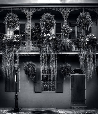 Early Morning In New Orleans In Black And White Poster