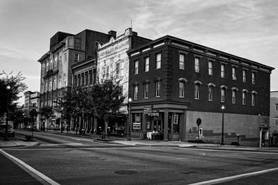 Early Morning In Wilmington In Black And White Poster
