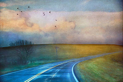 Early Morning Kansas Two-lane Highway Poster