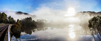 Early Morning Mist On Lake Rosebery Tasmania Poster by Jorgo Photography - Wall Art Gallery