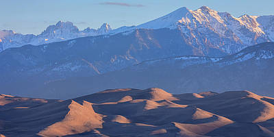 Early Morning Sand Dunes And Snow Covered Peaks Poster by James BO Insogna