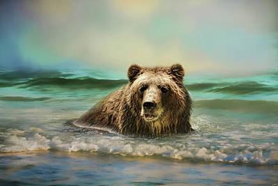 Early Morning Swim Bear Art Poster by Jai Johnson