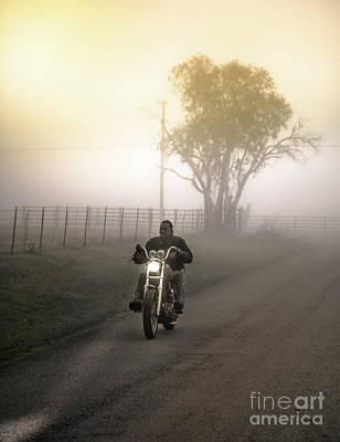 Early Rider In Fog Poster