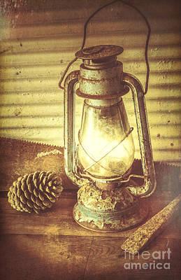Early Settler Oil Lamp Poster