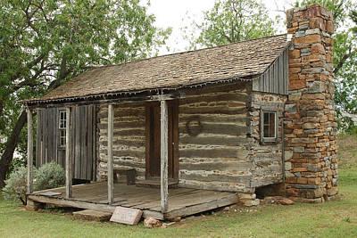 Early Texas Cabin Poster by Robert Anschutz