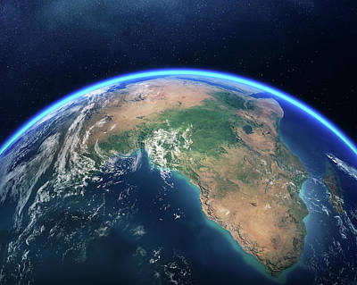 Earth From Space Africa View Poster