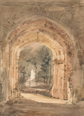 East Bergholt Church Looking Out The South Archway Of The Ruined Tower  Poster by John Constable