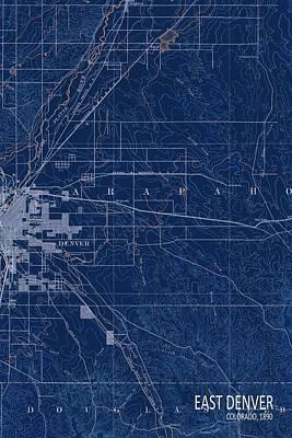 East Denver Old Map 1890 Blue Poster