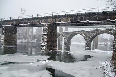 East Falls - The Frozen Schuylkill River Poster by Bill Cannon