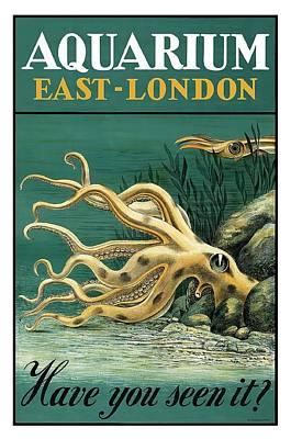 East London Aquarium Octopus Vintage World Travel Poster Poster by Retro Graphics