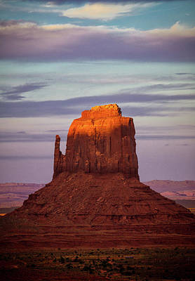 East Mitten Butte At Sunset Poster by Levin Rodriguez