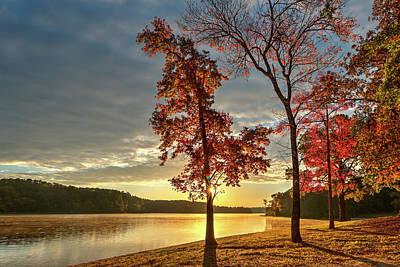East Texas Autumn Sunrise At The Lake Poster