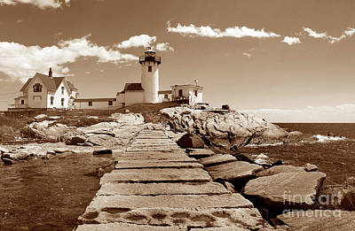 Easten Point Light In Sepia Poster by Skip Willits