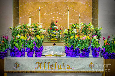 Easter Alter And Flowers Poster by Nick Zelinsky