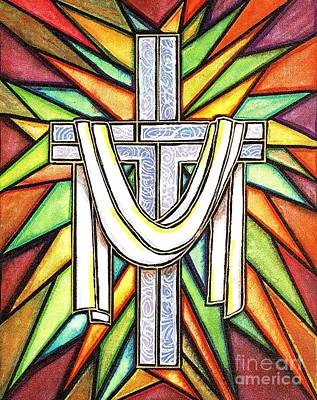 Poster featuring the painting Easter Cross 5 by Jim Harris
