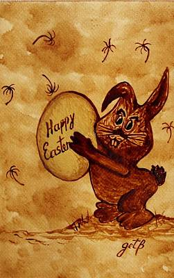 Easter Golden Egg For You Poster by Georgeta  Blanaru