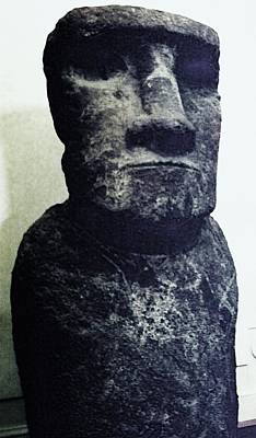 Poster featuring the painting Easter Island Stone Statue by Eric  Schiabor