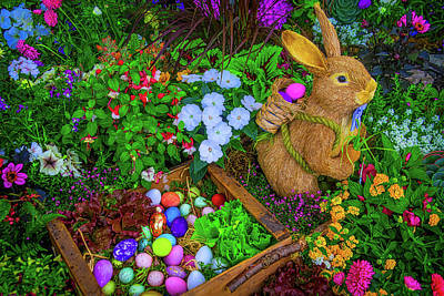 Easter Rabbit In Garden Poster