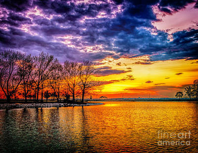 Poster featuring the photograph Easter Sunset At Riverview Beach Park by Nick Zelinsky