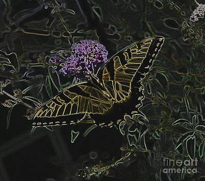 Eastern Tiger Swallowtail Butterfly - Neon Glow Poster by Scott D Van Osdol