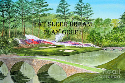 Eat Sleep Dream Play Golf - Augusta National 12th Hole Poster by Bill Holkham