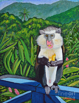 Poster featuring the painting Eating A Banana by Laura Forde