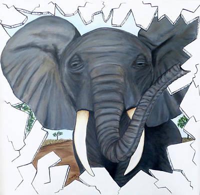 Eavesdropping Elephant Poster