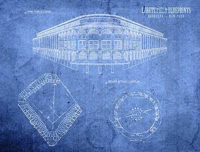 Ebbets Field Brooklyn Dodgers Baseball Field Blueprints Poster