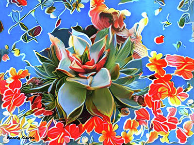 Echeveria And Geraniums Poster by Bunny Clarke