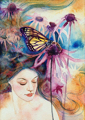 Poster featuring the painting Echinacea by Ragen Mendenhall