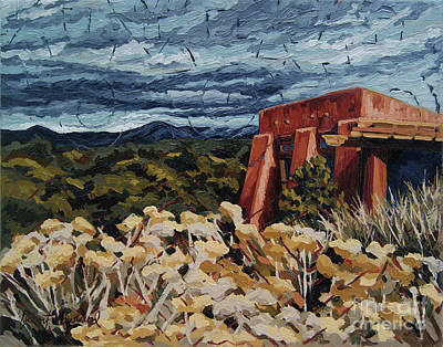 Poster featuring the painting Echoes Of Tularosa, Museum Hill, Santa Fe, Nm by Erin Fickert-Rowland
